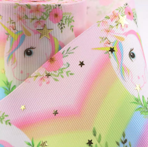 "3"" grosgrain ribbon - Unicorn on rainbow"