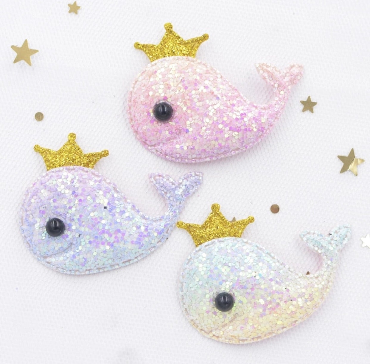 Padded Whale Appliqué - Chunky Glitter Ombre Gold Crown