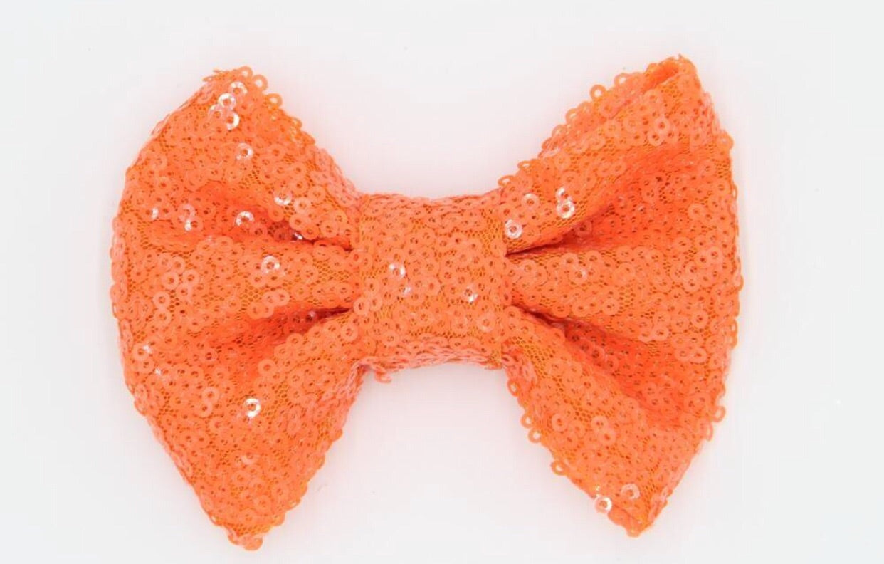 Medium Sequin Bow - Orange