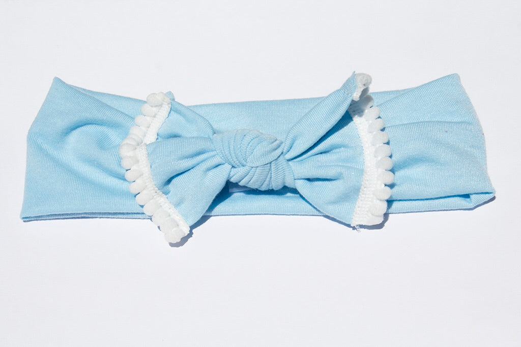 Pom Pom Headband - Light Blue - shabbyflowers.com