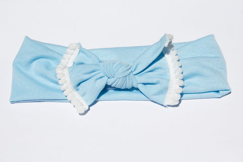 Pom Pom Headband - Light Blue