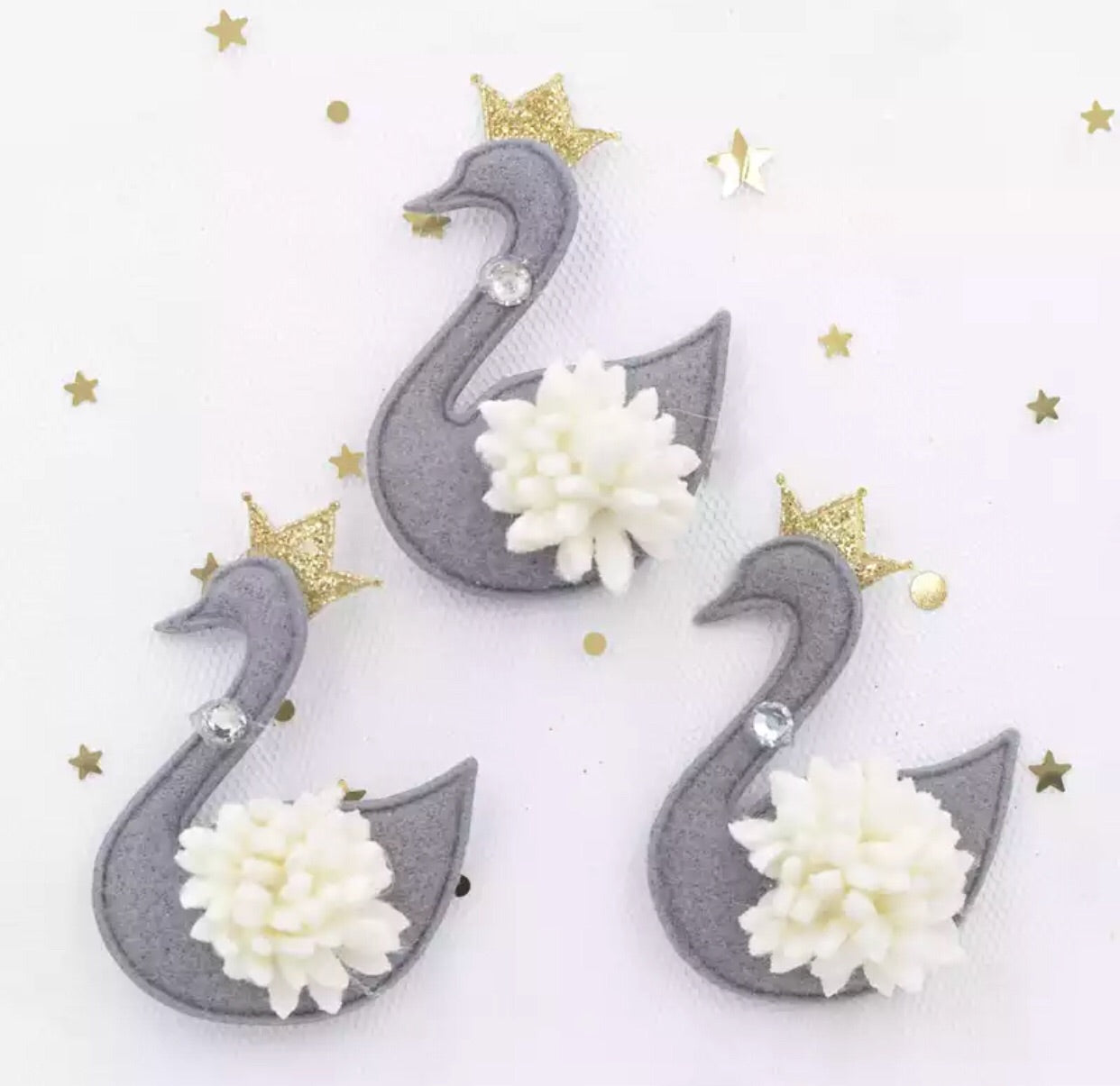 Swan Plush Applique - Choose Your Color - shabbyflowers.com