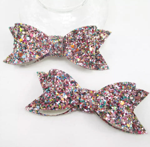 Large Chunky Glitter Bow - Pink
