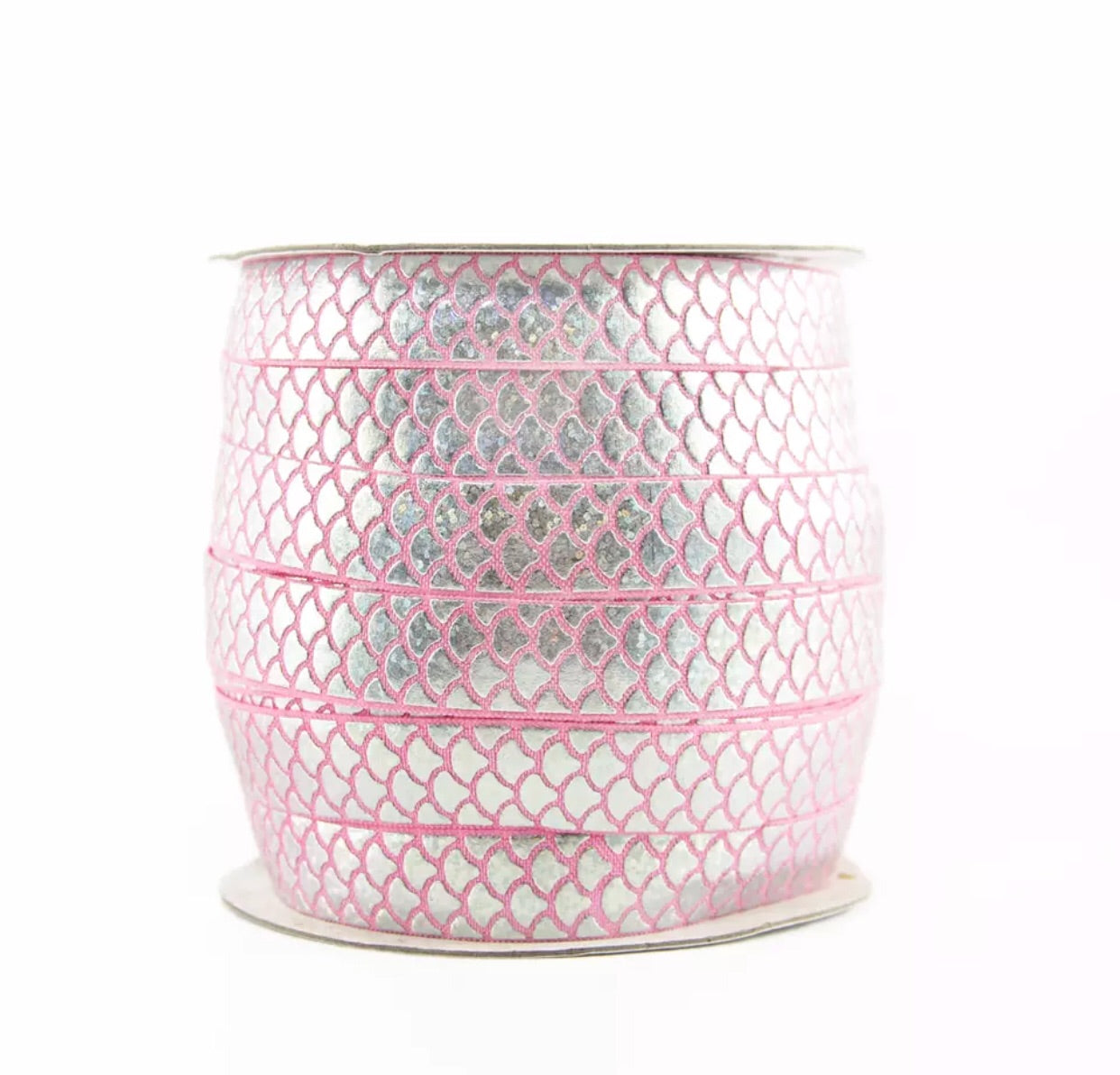 Elastic - Mermaid Scale Silver on Pink - shabbyflowers.com