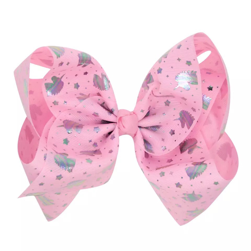 Hologram Unicorn on Pink Grosgrain Bow with clip - shabbyflowers.com
