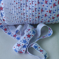 Elastic - Red and Blue Stars on White - shabbyflowers.com