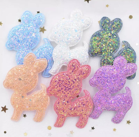 Chunky Glitter Padded Deer Applique - Choose your color