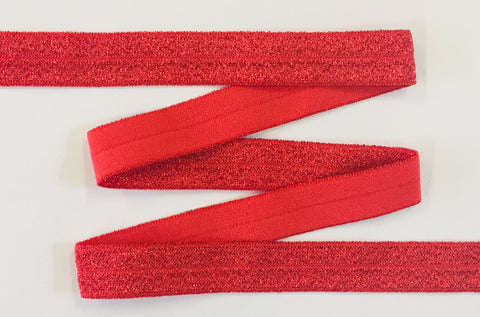 Solid Foldover Elastic - Metallic Red