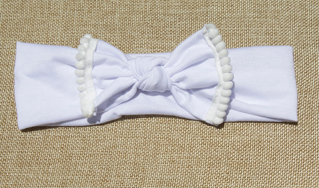 Pom Pom Headband - White - shabbyflowers.com