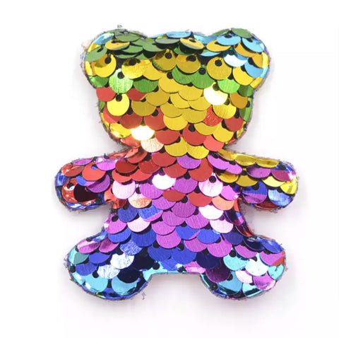 Reversible Sequin Padded Bear Applique