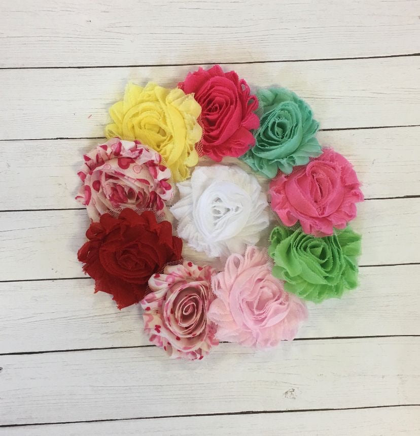 Shabby Flower Multipack - Valentines (10 Colors / 20 Flowers) - shabbyflowers.com