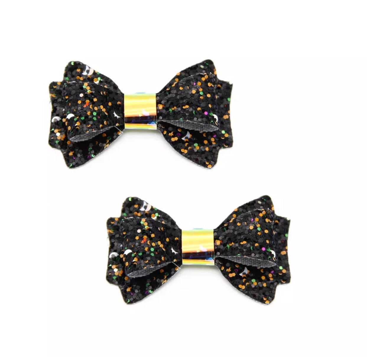 Chunky Glitter Bow - Black Multicolor - shabbyflowers.com