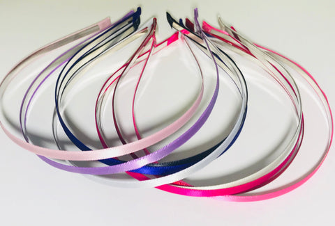 Satin Covered Metal Headband 5 mm - Choose your color