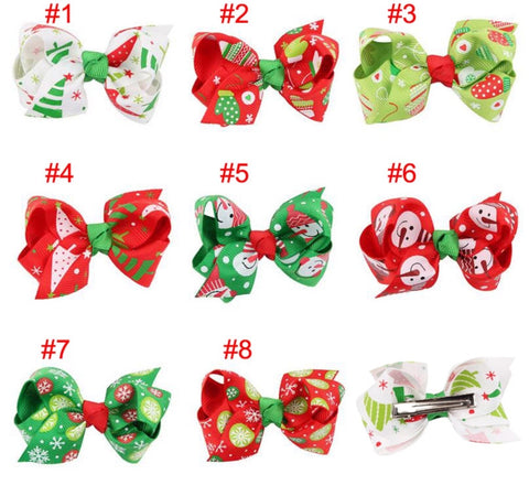 Christmas Grosgrain Bow with clip