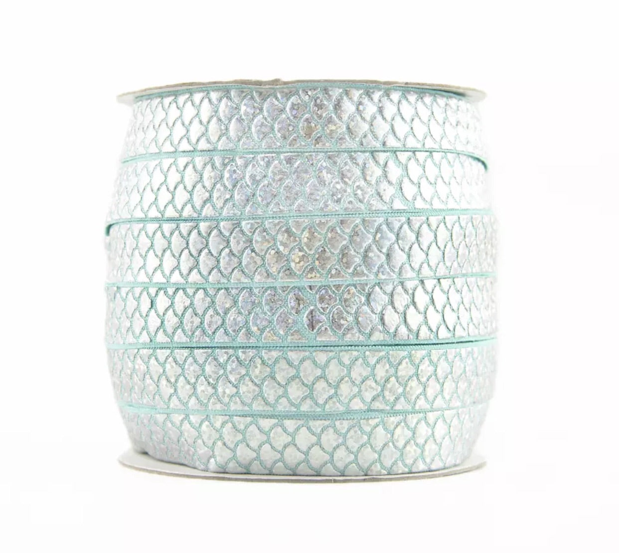 Elastic - Mermaid Scale Silver on Aqua - shabbyflowers.com