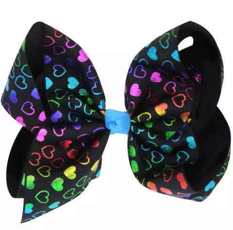 Rainbow Hearts on Black Grosgrain Bow with clip