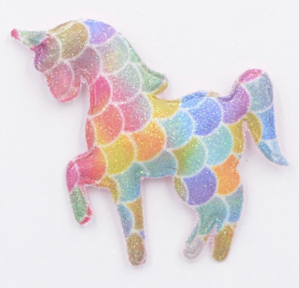 Padded Unicorn Applique - Rainbow Scale