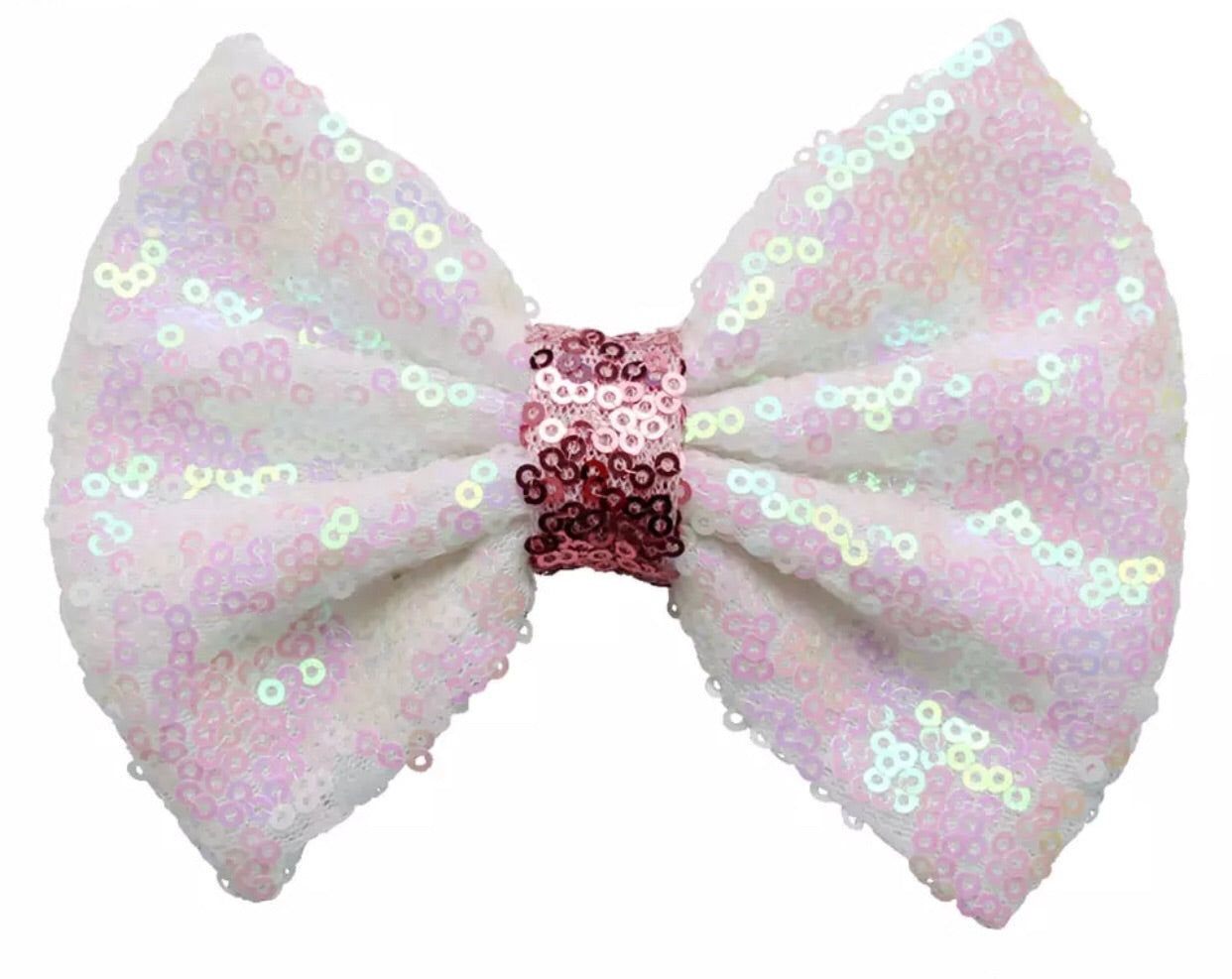 Large Sequin Bow - White with Light Pink center - shabbyflowers.com