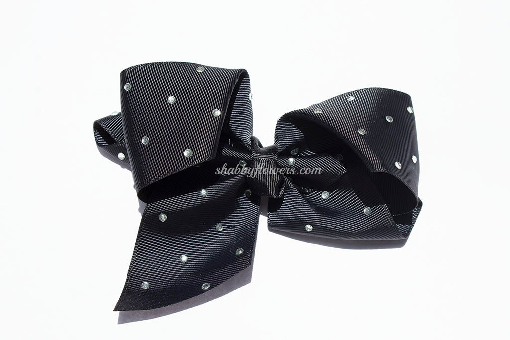Rhinestone Grosgrain Bow - Black - shabbyflowers.com