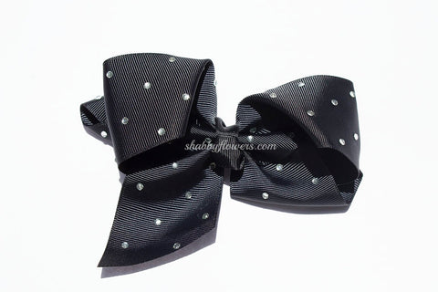 Rhinestone Grosgrain Bow - Black