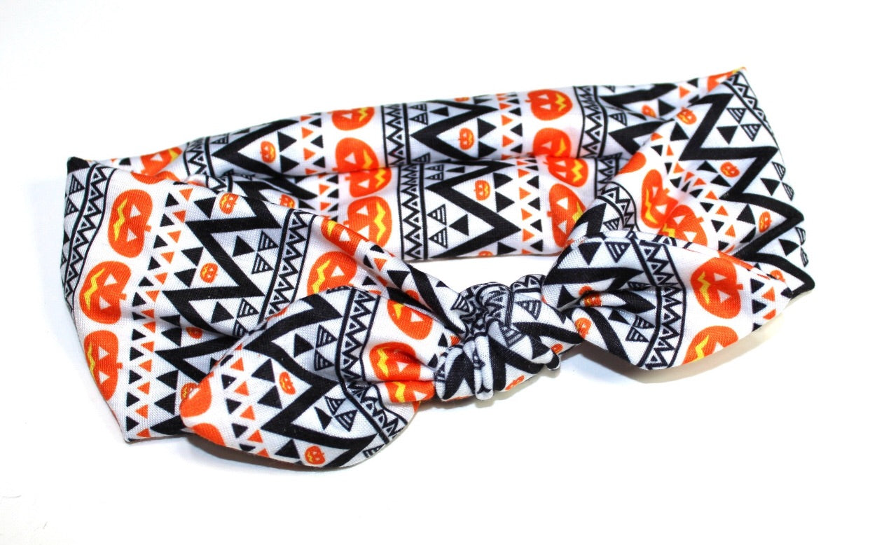 Knot Headband- Tribal Pumpkin - Small