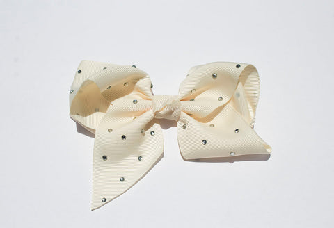Rhinestone Grosgrain Bow - Cream