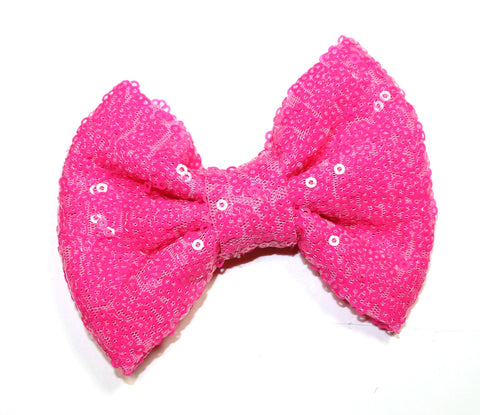Medium Sequin Bow - Bright Pink
