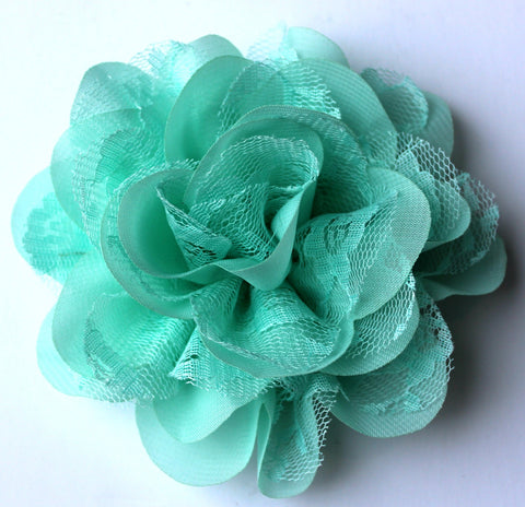 Chiffon and Lace Flower - Mint