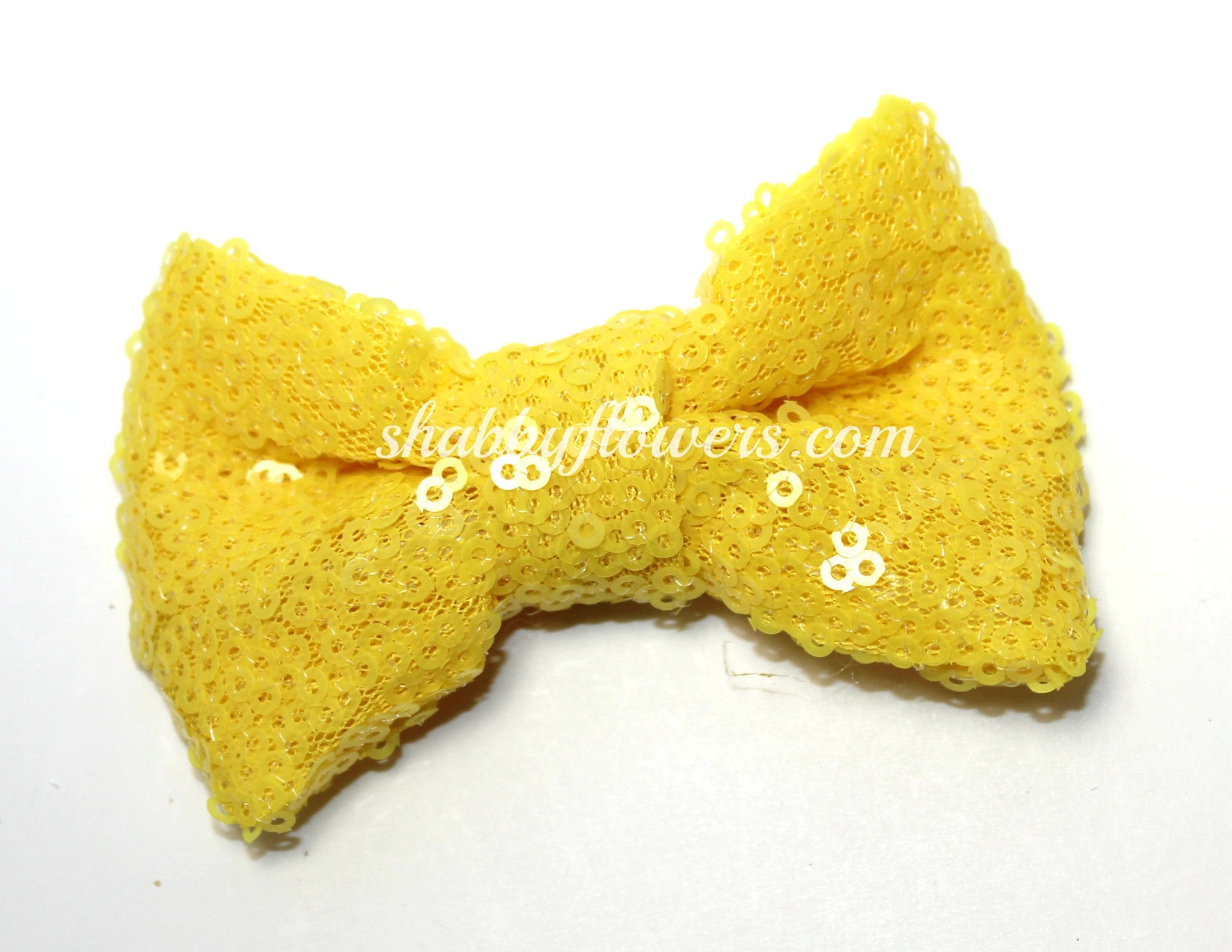 Medium Sequin Bow - Canary - shabbyflowers.com