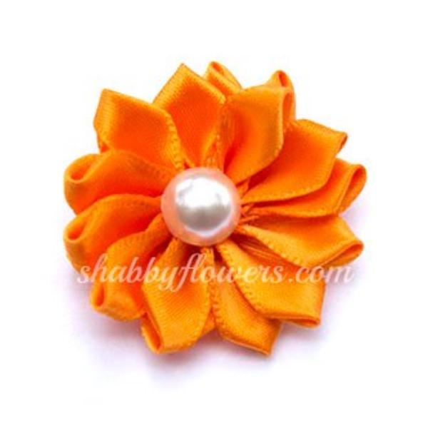 Satin Pearl Flower- Orange - shabbyflowers.com