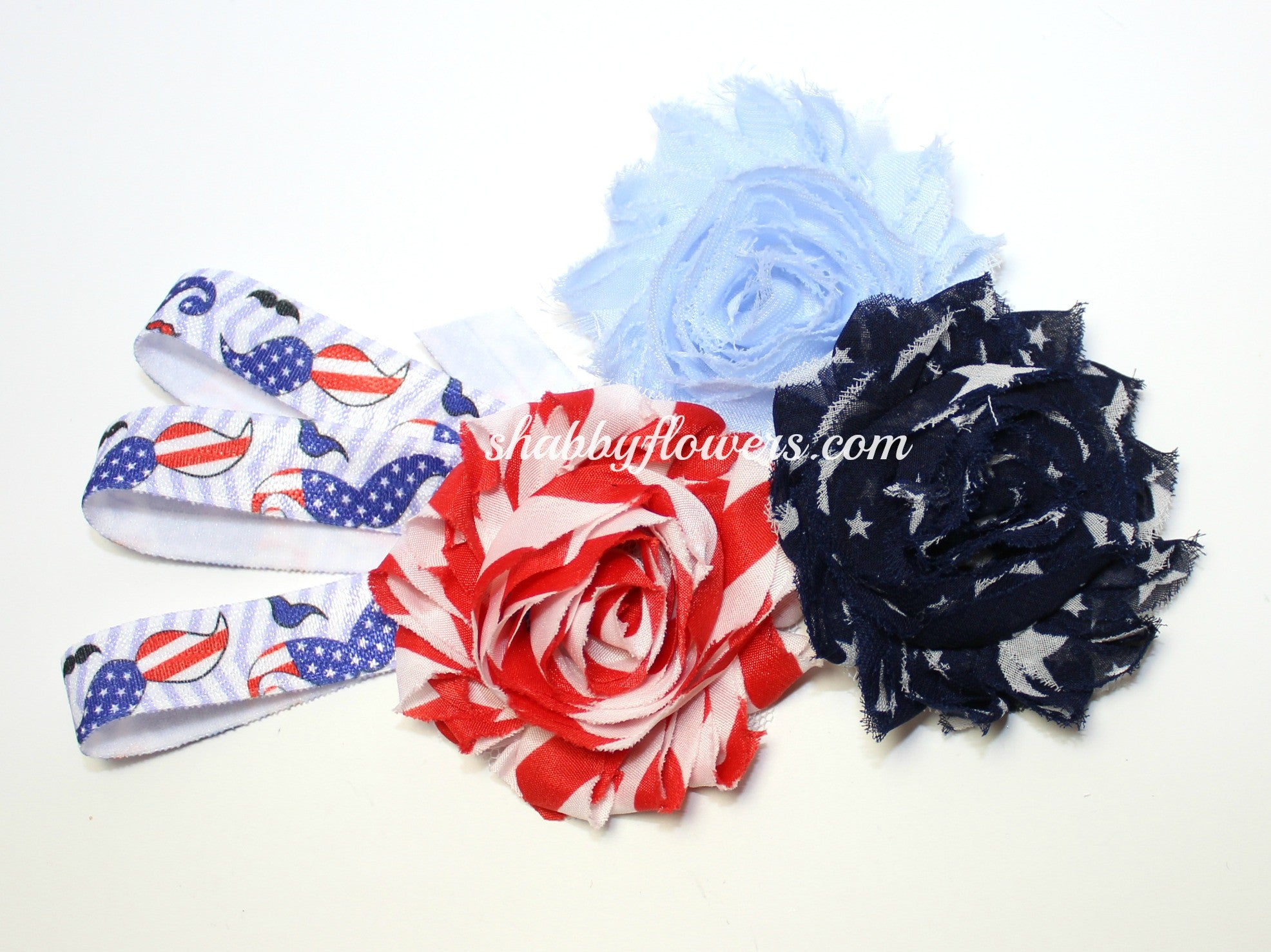 Petite Headband Kit-4th of July Mustaches - shabbyflowers.com