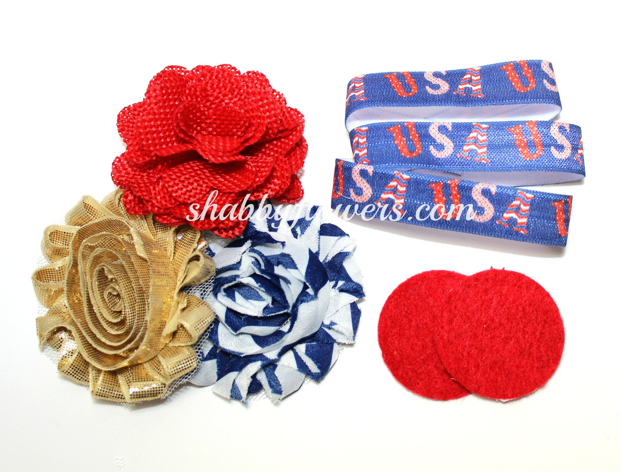 Petite Headband Kit - Patriotic Burlap - shabbyflowers.com