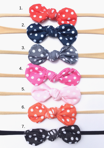 Nylon Knot Headband Pack of 7 - Polka Dot