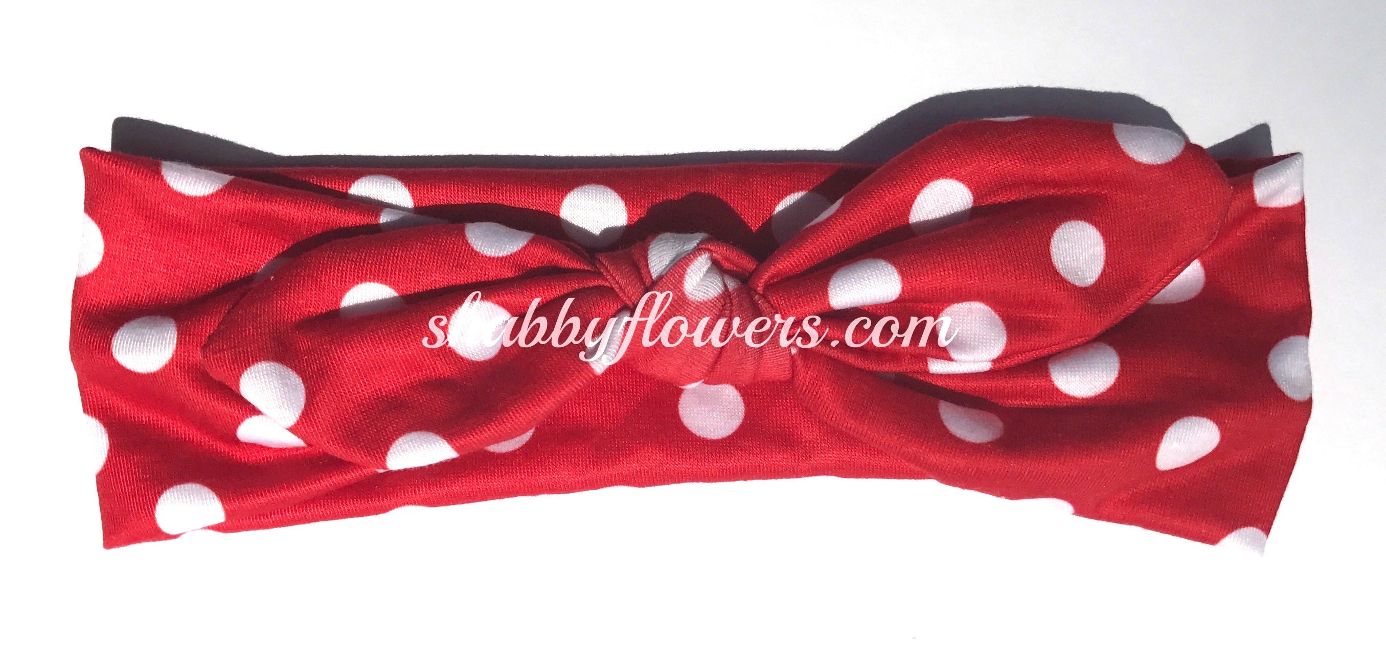 Knot Headband - White Dots on Red - Size Regular - shabbyflowers.com