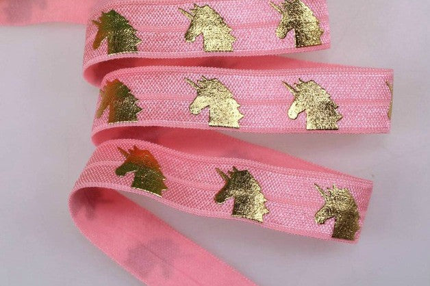 Elastic - Gold Foil Unicorns on Light Pink - shabbyflowers.com