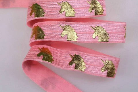 Elastic - Gold Foil Unicorns on Light Pink