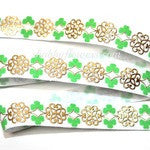 Elastic - Gold Shamrock Celtic Design - shabbyflowers.com