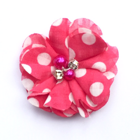 Pearl & Rhinestone Flower - Hot Pink Polka Dot