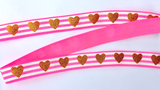 Elastic- Gold Glitter Hearts on Hot Pink - shabbyflowers.com