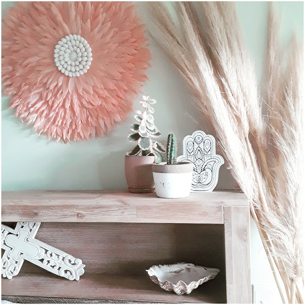 """Eternity"" pink  feather wall hanging large - The boho gypsea"