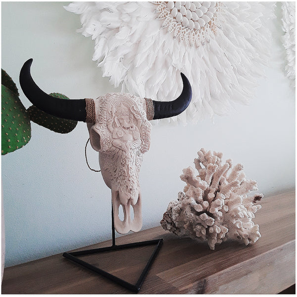 "Bull shit ""vegan"" hand carved cow skull - The boho gypsea"