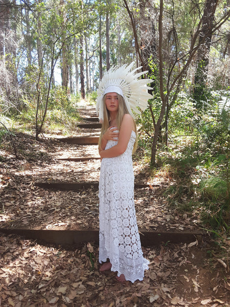 "Cowboy white lace ""Indian headdress"" - The boho gypsea"
