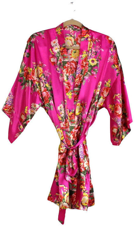 Bright colored Bridesmaid Robes! Affordable floral satin robe set! – 1 Of A  Kind Wedding 765f46002