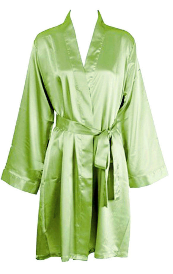 9e1ddde534 Solid Satin Robe - Lime – 1 Of A Kind Wedding