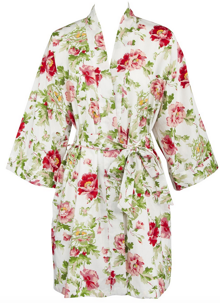 White Bride s robe in Vintage Floral Cotton – 1 Of A Kind Wedding 5466e2781