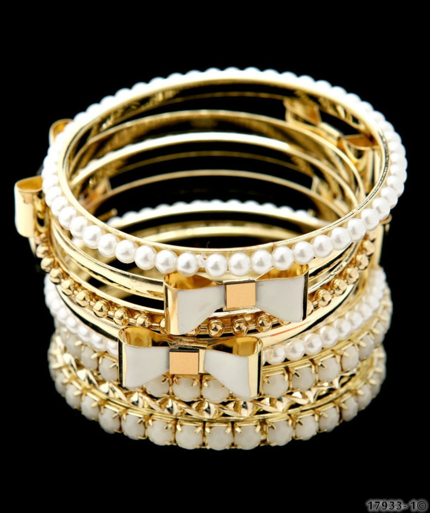 Goldtone Bracelets With Pearl Detail - Boujie Empire™