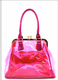Fuchsia Colored 2 In 1 Transparent Handbag