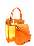 2 in 1 Transparent Tote With Square Metal