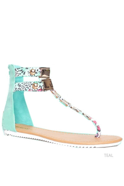 Amber: Teal Color Sandal With Metal Detail On The Strap