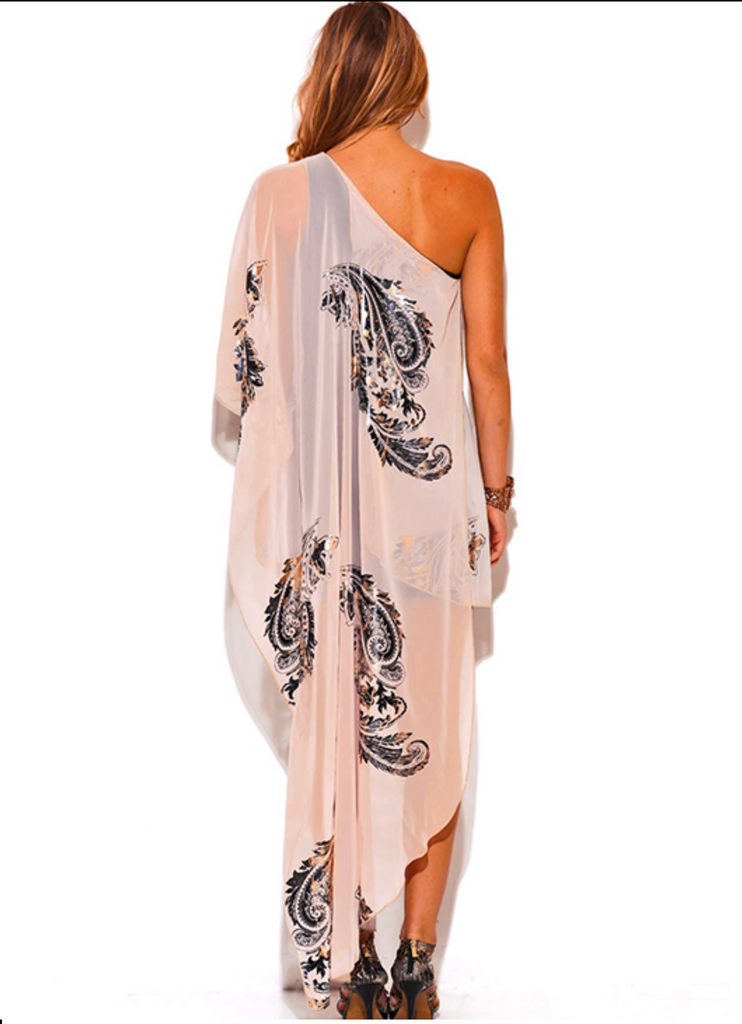 Gold Metallic Print On Rose Chiffon Scarf,Attached, One Shoulder Cocktail Dress.